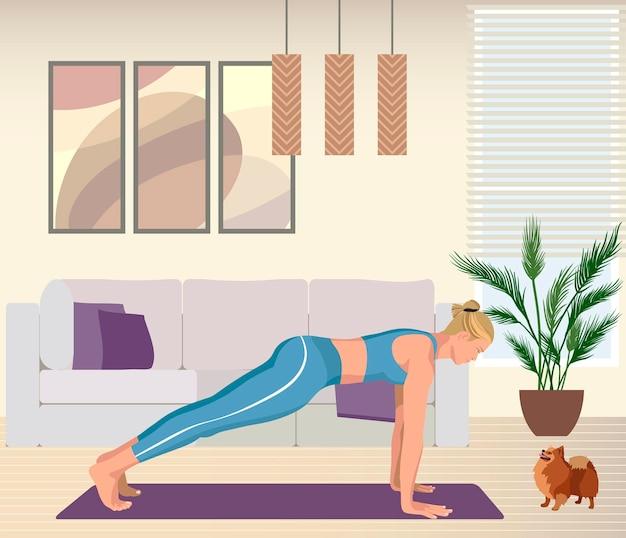 Sterke blonde vrouw die yoga beoefent met hond platte vectorillustratie