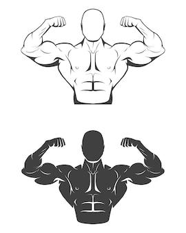 Sterke bodybuilder man met perfecte buikspieren, schouders, biceps, triceps en borst zijn spieren buigen.