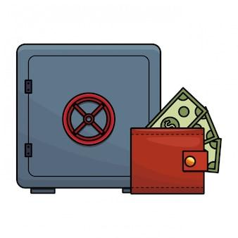 Sterke doos met contant geld in portemonnee