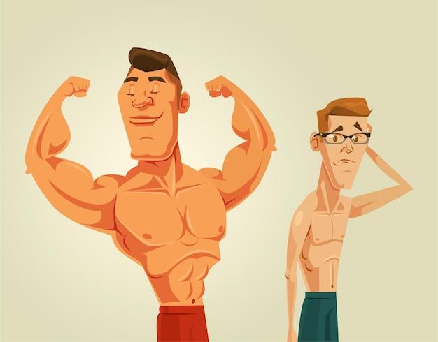 Sterke en zwakke mannen platte cartoonillustratie