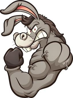 Sterke ezel mascotte illustratie