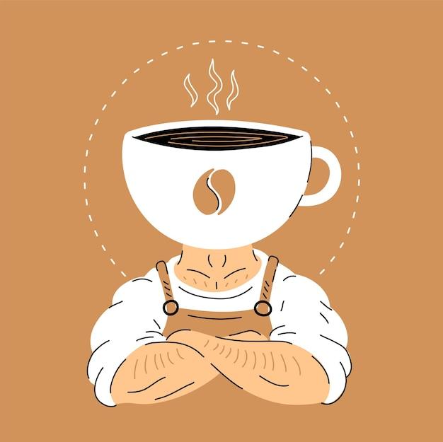 Sterke gespierde barista man met koffie kopje hoofd. hand getrokken doodle lijnstijl cartoon karakter logo vectorillustratie. geïsoleerd op een witte achtergrond. sterke barista-mascotte, coffeeshop logo concept
