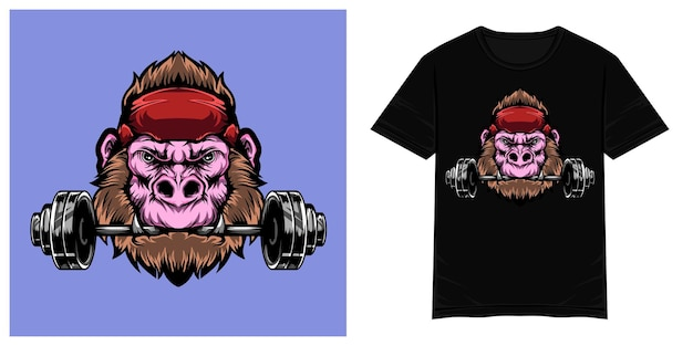 Sterke gorilla vector tshirt illustratie