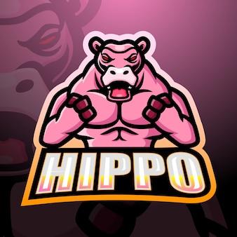 Sterke hippo mascotte esport illustratie