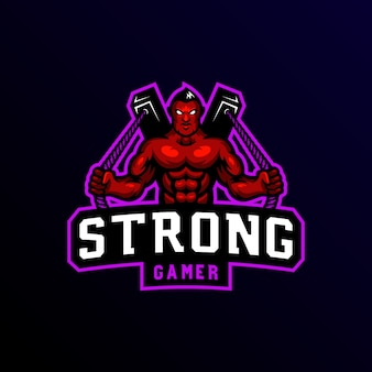 Sterke man mascotte logo esport gaming.