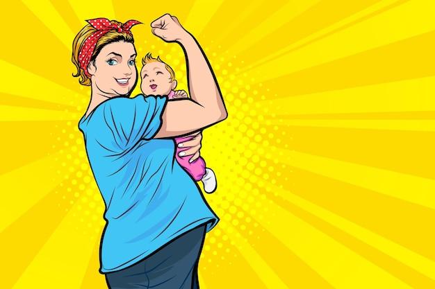 Sterke moeder die babyacties vasthoudt, we kunnen het, we kunnen het pop art comic style