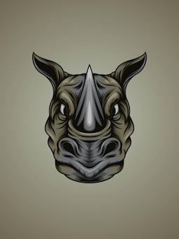 Sterke neushoorn hoofd illustratie