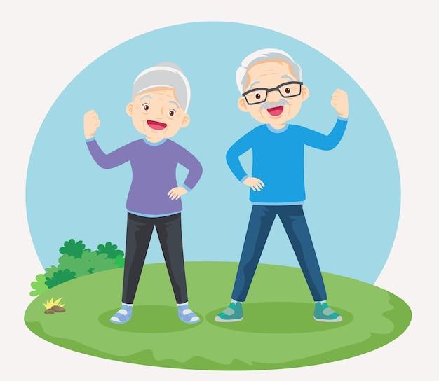 Sterke ouderen omgeven door immuniteitsveld ter bescherming in het park.
