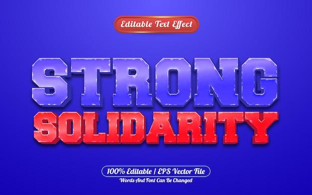 Sterke solidariteit 3d bewerkbare teksteffect spelstijl