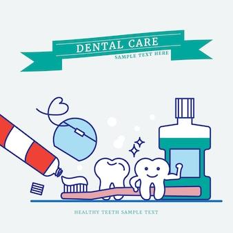 Sterke tanden cartoon overzicht op blauwe achtergrond
