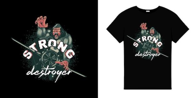 Sterke torpedojager t-shirt illustratie met wilde gorilla Premium Vector