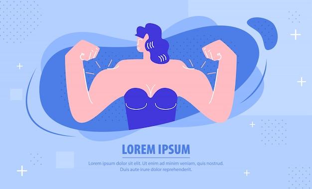 Sterke vrouw demonstreren spieren webbanner