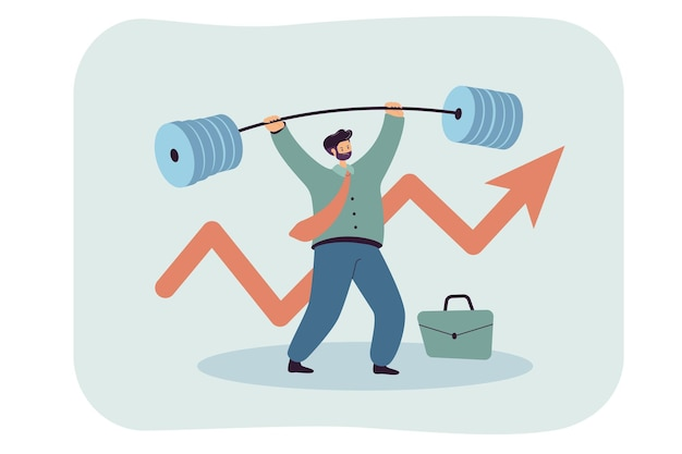 Sterke zakenman die zware halter opheft