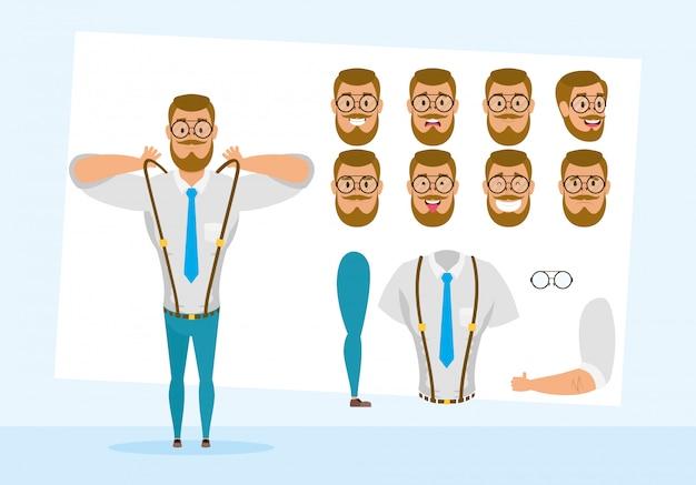 Sterke zakenman met set gezichten karakter vector illustratie ontwerp
