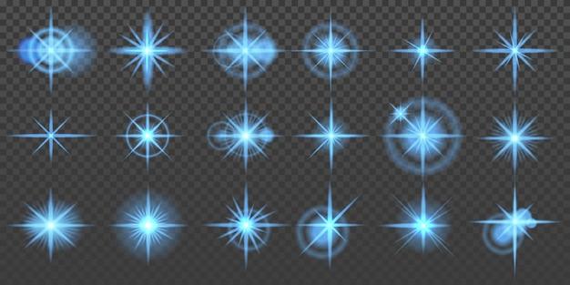Sterren barsten blauwe glitters en gloeiende lichteffecten