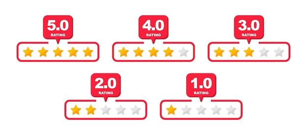 Sterren beoordelen. feedback nul tot vijf sterren. klantbeoordeling. sterren ranking. vector illustratie.