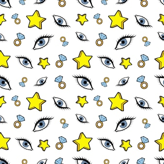 Sterren diamanten en ogen naadloze patroon. mode achtergrond in retro komische stijl. illustratie
