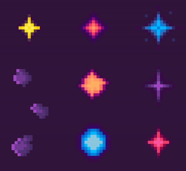 Sterren en abstracte vormen van galaxy pixel game