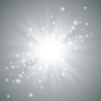 Sterren explosie vectorillustratie, gloeiende zon. zonneschijn geïsoleerd