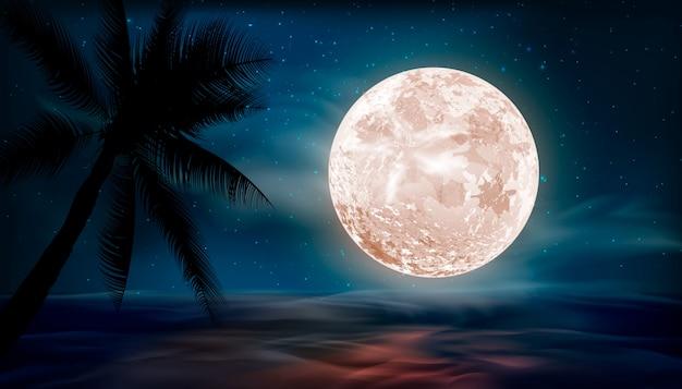Sterren in de nachtelijke hemel, sterrenhemel, galaxy ruimte achtergrond. nacht landschap achtergrond met grote maan.