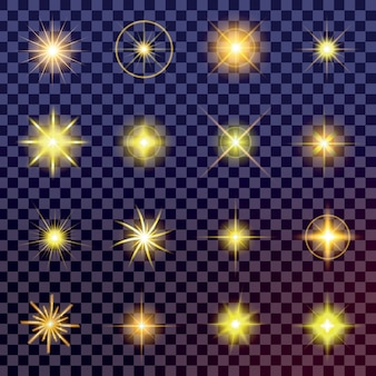 Sterren met gloei-licht barsten met fonkelingen.