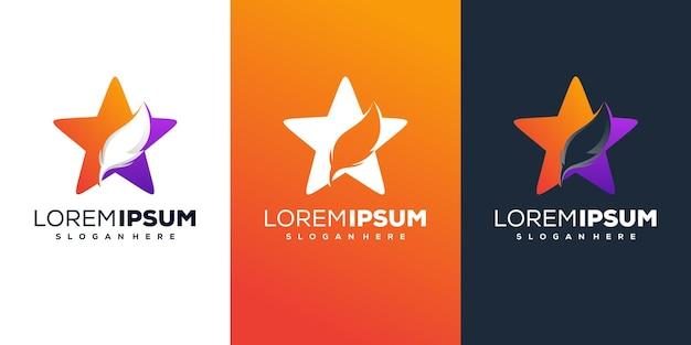 Sterren met veren logo-ontwerp