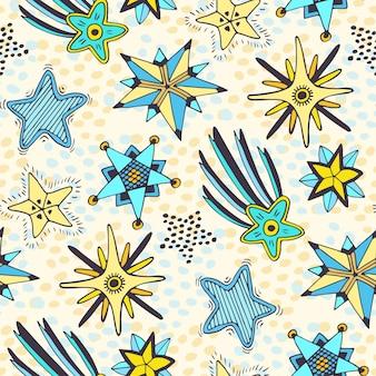 Sterren naadloos patroon. abstracte krabbelachtergrond voor textiel of het verpakken.