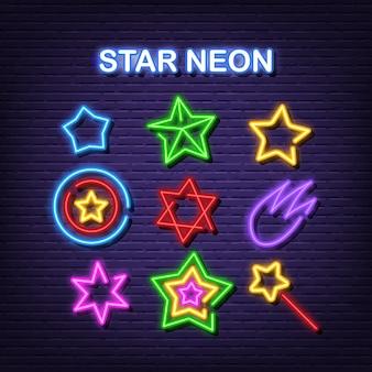 Sterren neon pictogrammen