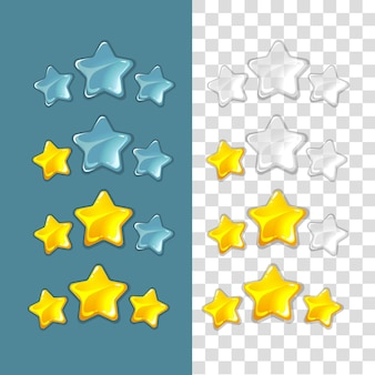 Sterren rangschikken. spel vectorelementen in cartoon stijl. rating star, game star ranking gold, star success ranking, best ranking star interface illustration