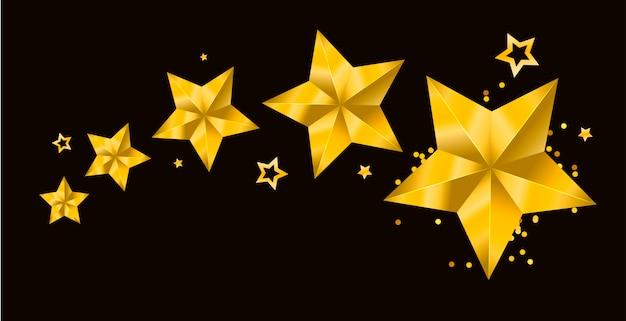 Sterren realistische metallic gouden geïsoleerde gele 3d kerstmis