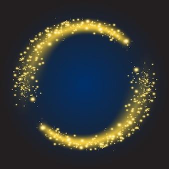 Sterren stof cirkel. schitterende glanzende gloed helder rond, glitter verlicht. vector illustratie