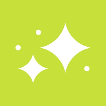 Sterren vector sprankelend pictogram in eenvoudige stijl op groene achtergrond