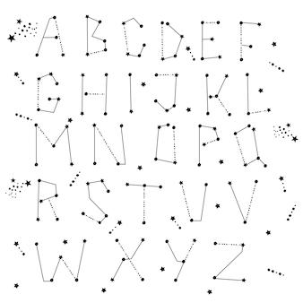 Sterrenbeeld thema alfabet. stippen en sterlijntekeningen. constellatie concept