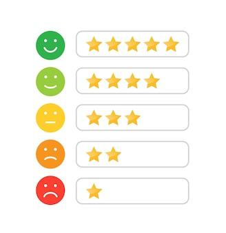 Sterrenbeoordelingspictogram voor website en mobiele apps feedbackbeoordeling emotie klanttevredenheidsbeoordeling