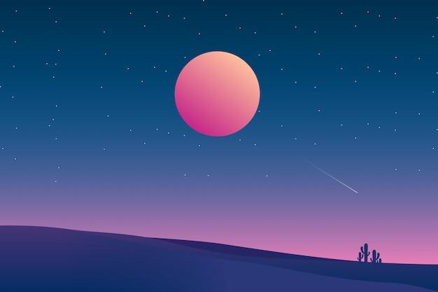 Sterrennachtachtergrond met de illustratie van het woestijnlandschap