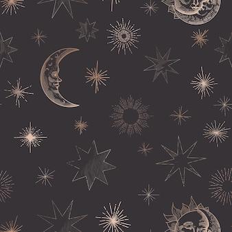 Sterrennachthemel trendy naadloze patroon, vintage hemelse hand getekende achtergrond sjabloon van galaxy, ruimte, maan, zon, sterren voor ontwerp, textuur, textiel, decoratie. illustratie in vector