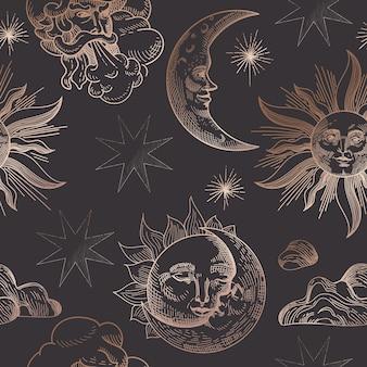 Sterrennachthemel trendy naadloze patroon, vintage hemelse hand getekende achtergrond sjabloon van galaxy, ruimte, sterren voor ontwerp, textuur, textiel, decoratie. illustratie in vector