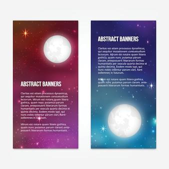 Sterrige hemel banners ontwerp