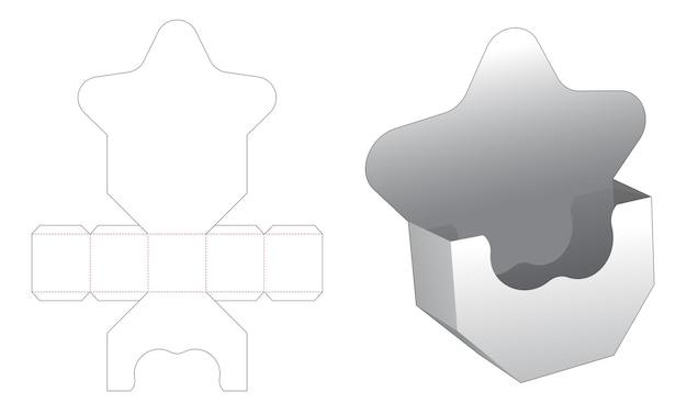 Stervormige snackcontainer met meerdere punten en afgeschuinde bodem met gestanste sjabloon