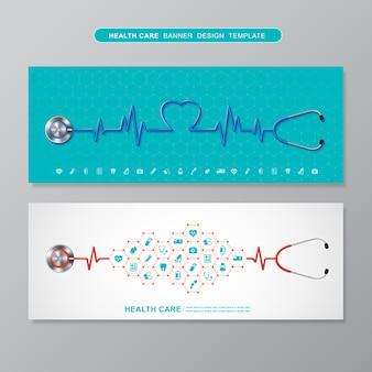 Stethoscoop en heartbeat hartvormige plat pictogrammen in medisch, cross, gezondheidszorg