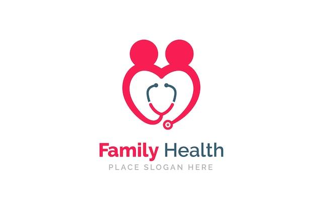 Stethoscoop icoon met hart vorm. gezondheid en geneeskunde symbool. Premium Vector