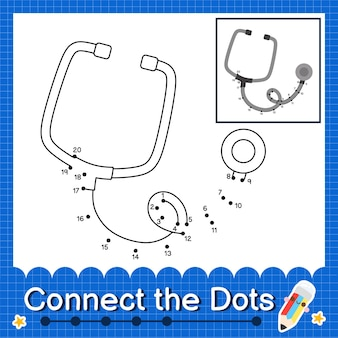 Stethoscoop kids verbind de stippen werkblad voor kinderen die nummer 1 tot en met 20 tellen