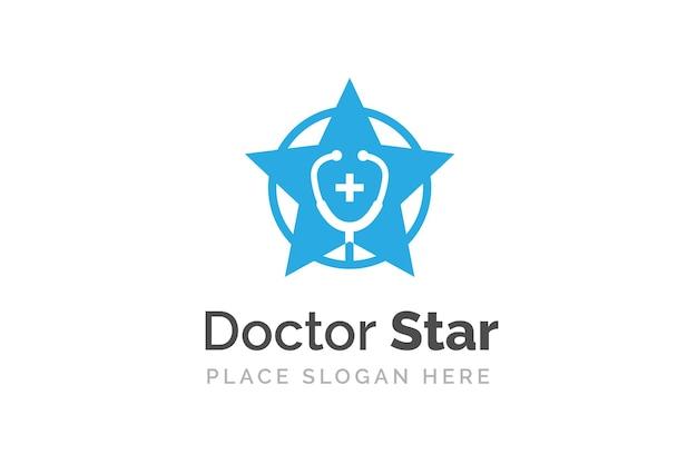 Stethoscoop pictogram geïsoleerd op stervorm symbool. gezondheid en geneeskunde logo sjabloon.