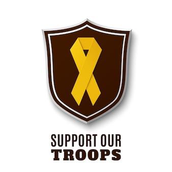 Steun onze troepen. geel lint bovenop het schild, dat op witte achtergrond wordt geïsoleerd.