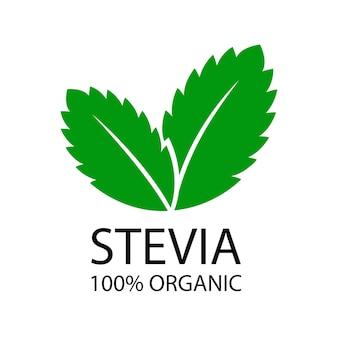 Stevia laat logo achter. natuurlijk organisch stevia-zoetmiddelpictogram. vectorillustratie op witte achtergrond