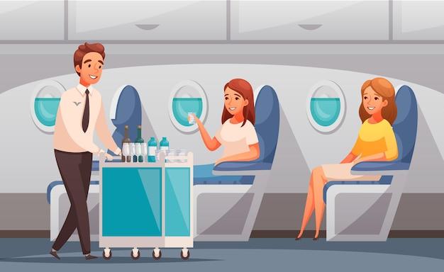 Steward die drankjes aanbiedt aan passagiers in vliegtuigcartoon