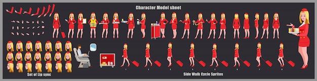 Stewardess character design model sheet met loopcyclusanimatie. meisje characterdesign. voor-, zij-, achteraanzicht en uitleganimatie-poses. tekenset met verschillende weergaven en lipsynchronisatie