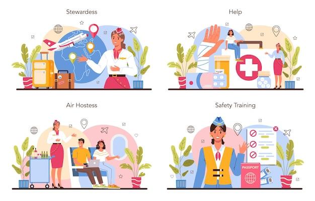 Stewardess concept set. stewardessen helpen passagier in vliegtuig.