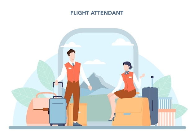 Stewardess-concept. stewardessen helpen passagier in vliegtuig. reis per vliegtuig. idee van beroep en toerisme. geïsoleerde platte vectorillustratie