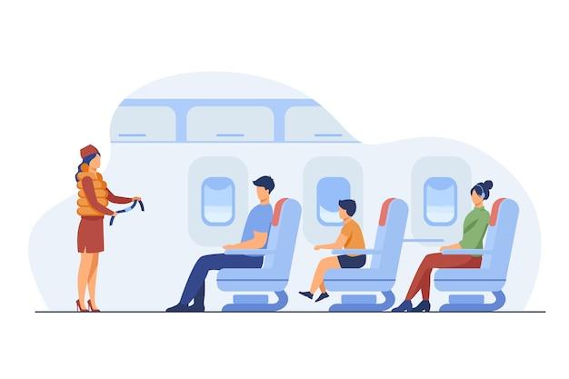 Stewardess die veiligheidsinstructies uitlegt. passagier, vliegtuig, riem platte vectorillustratie. reizen en vakantie concept